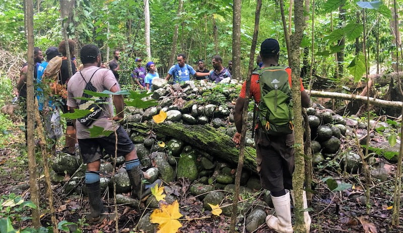 Guides share stories at old village site